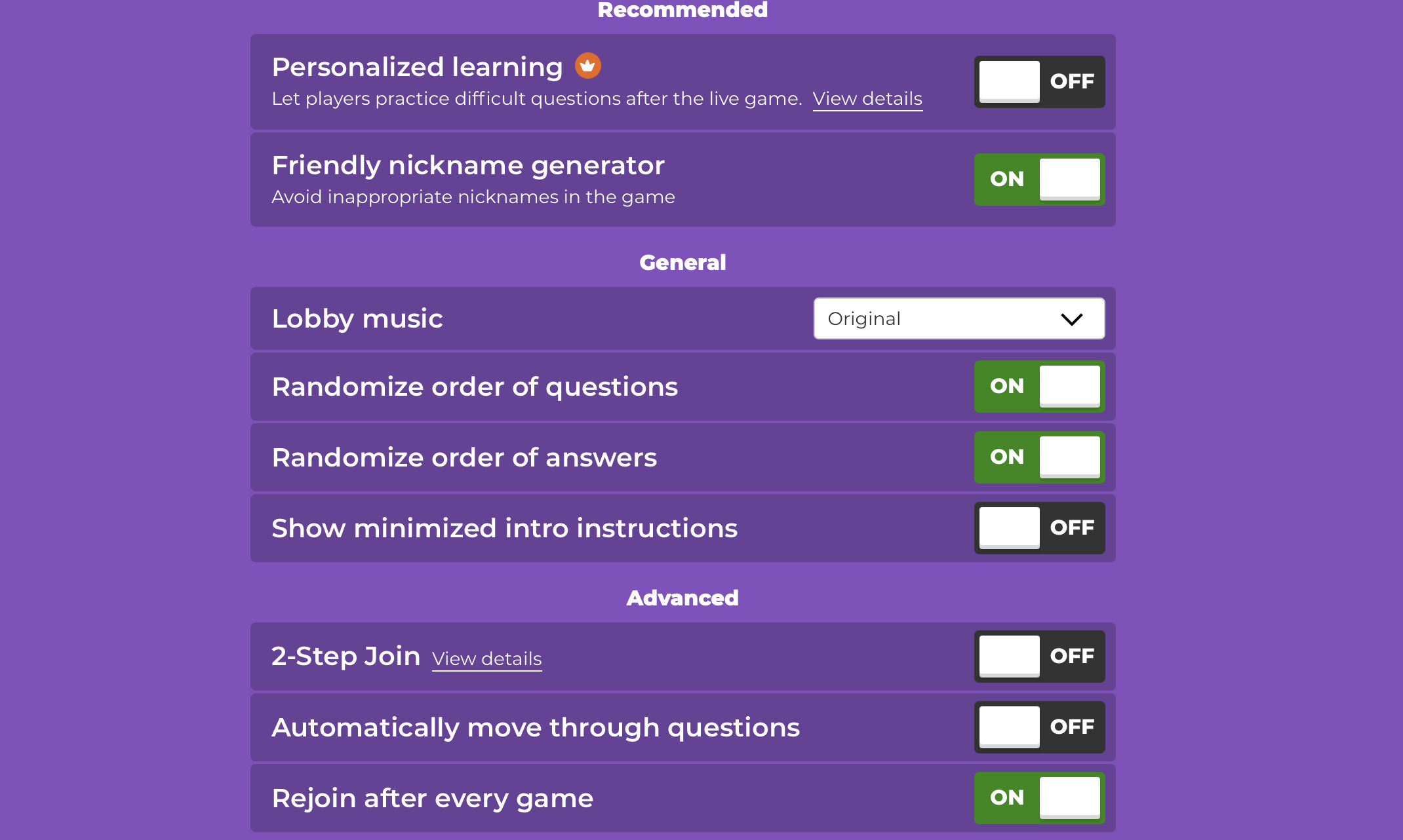 if you're teaching theater online you can choose these options for a Kahoot game
