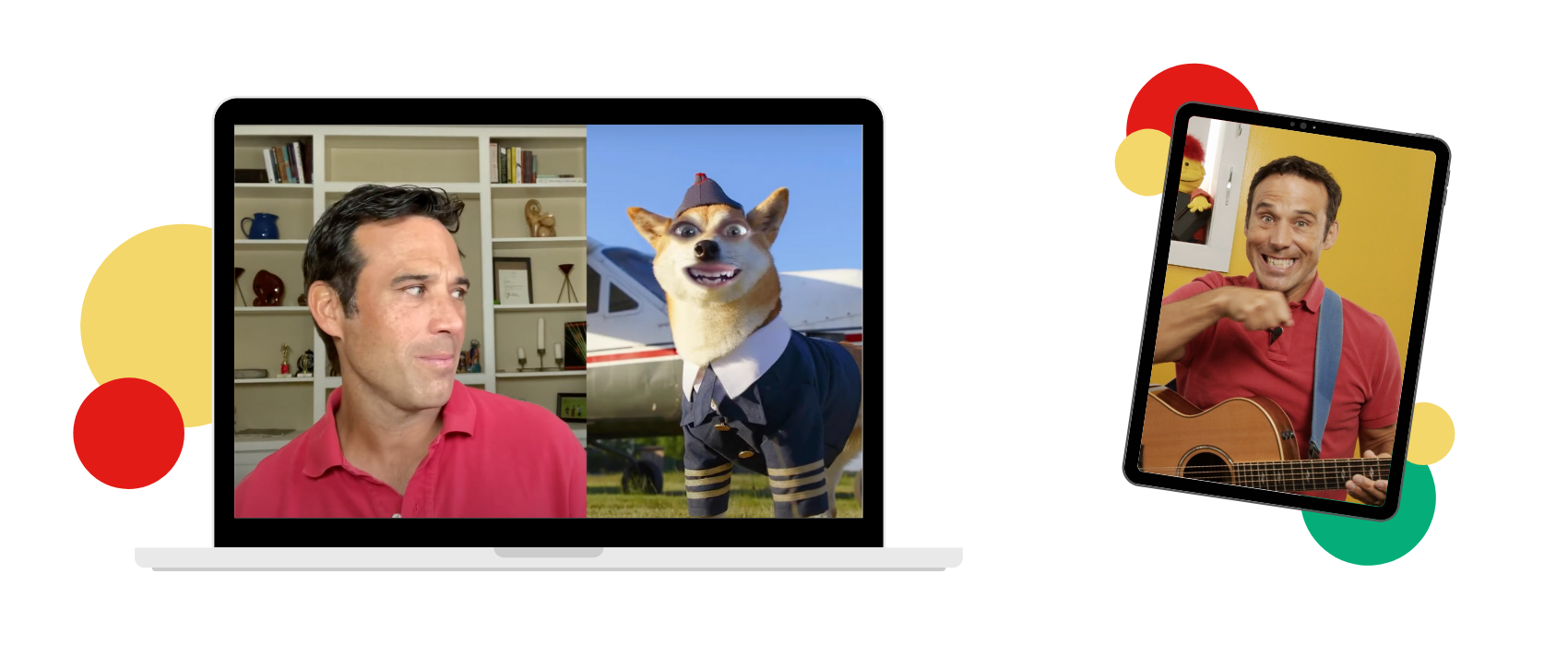 PBS Kids celebrity SteveSongs on a computer screen looking at a dog and on an iPad showing the hand motions to the song Brush, Brush, Brush, a curriculum kit for elementary music teachers