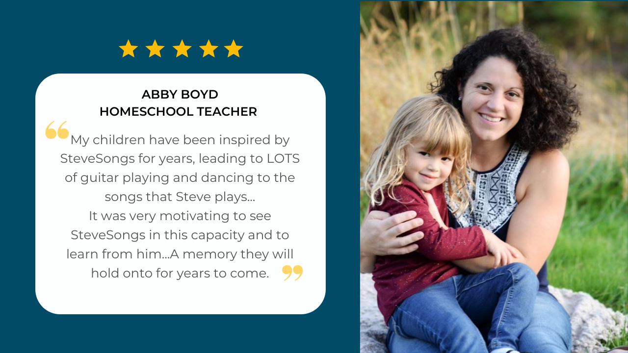 Homeschool teacher Abby Boyd is holding her daughter and sharing her testimonial about her experience using the Brush, Brush, Brush curriculum unit by SteveSongs