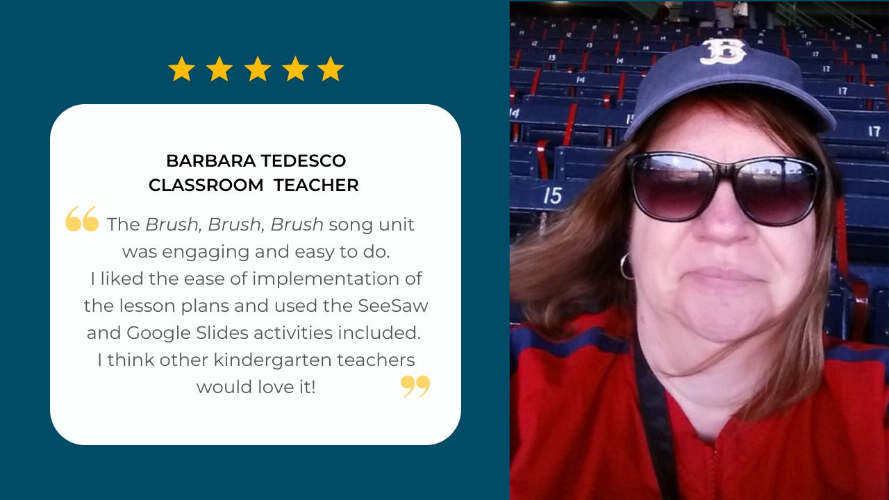 Kindergarten teacher Barbara Tedesco shares her testimonial about her experience using the Brush, Brush, Brush curriculum unit by SteveSongs