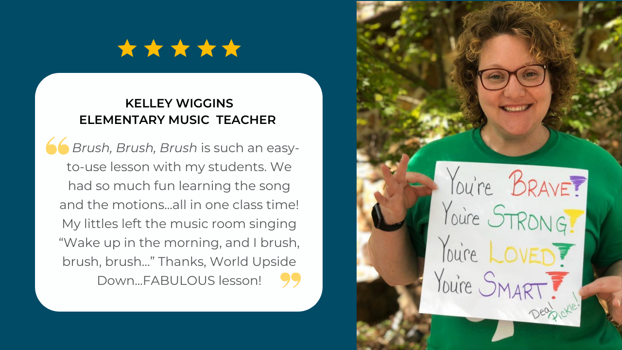 Elementary music teacher Kelley Wiggins shares her testimonial about her experience using the Brush, Brush, Brush curriculum unit by SteveSongs