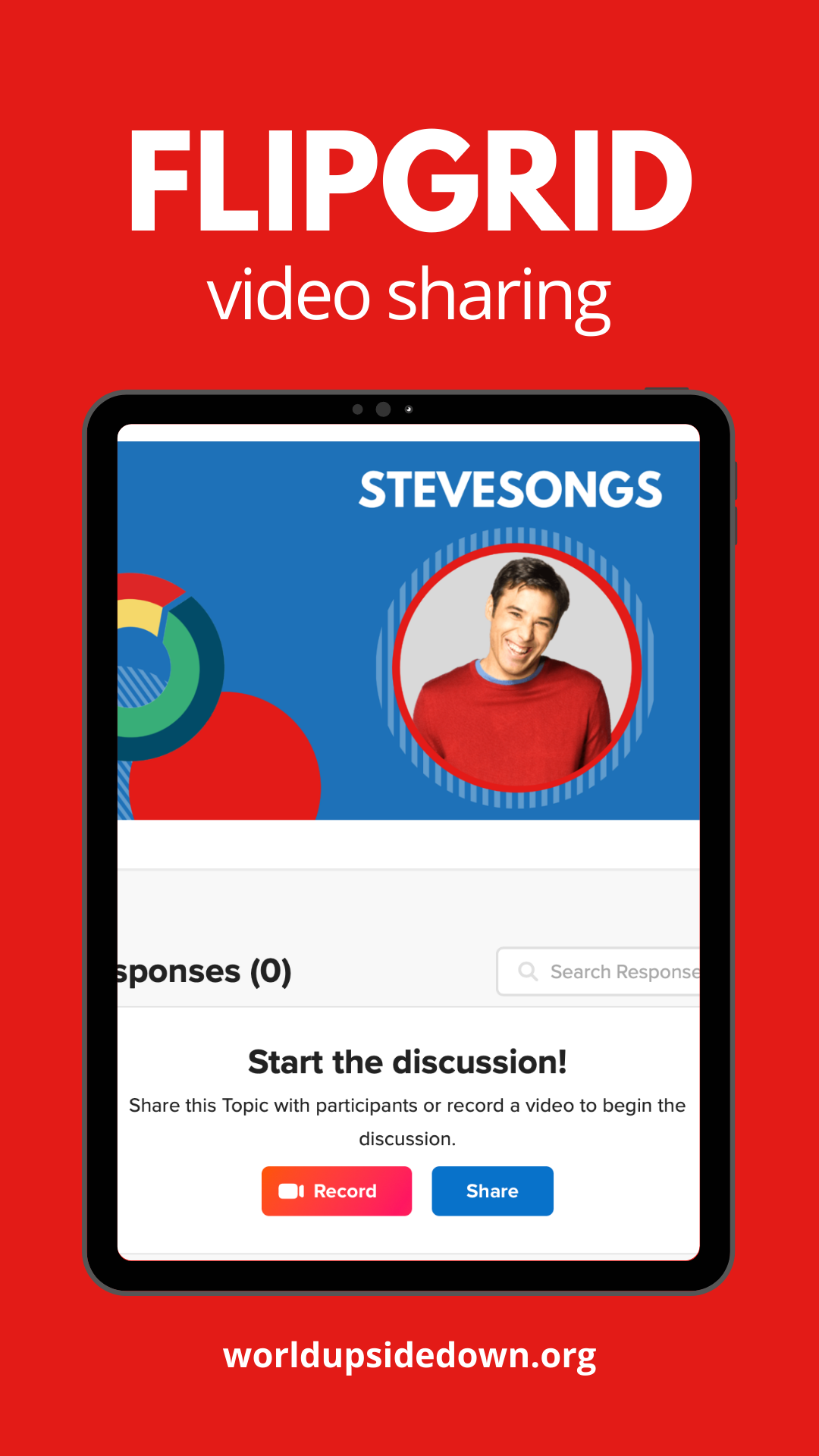 """Txt title reads """"FlipGrid video sharing"""" and iPad image shows an example of the FlipGrid activity included in the SteveSongs Brush, Brush, Brush unit"""