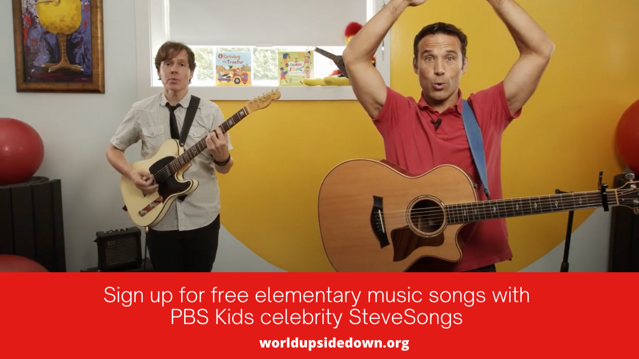 """SteveSongs is singing the Brush Brush Brush song with his band member Chris who is playing guitar, and there's a text invitation at the bottom of the image which reads """"Sign up for free elementary music songs by PBS Kids celebrity SteveSongs"""" and lists the worldupsidedown.org website"""