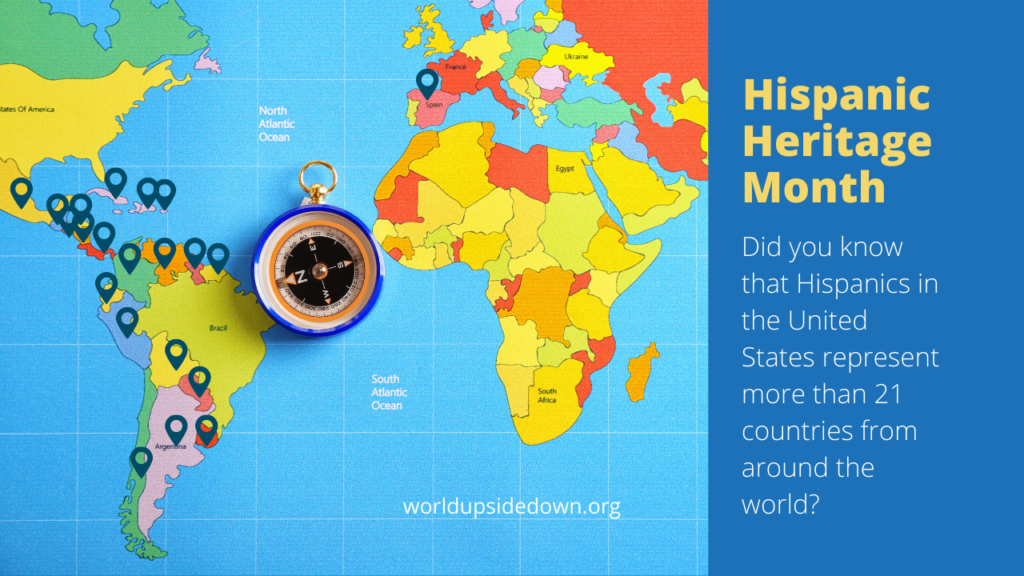 fun fact question for Hispanic Heritage Month with map of the world and dots on the countries that are hispanic in the world